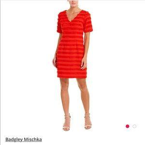Badgley Mischka Lash Fringe Red Dress